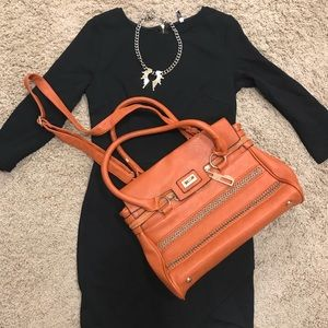 Orange Satchel Purse with Chain Detail